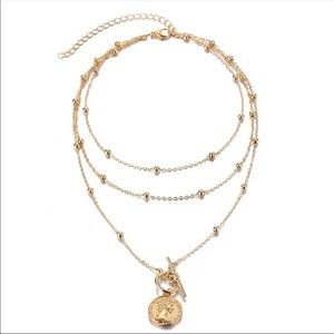Gold Beaded Coin Pendant Necklace